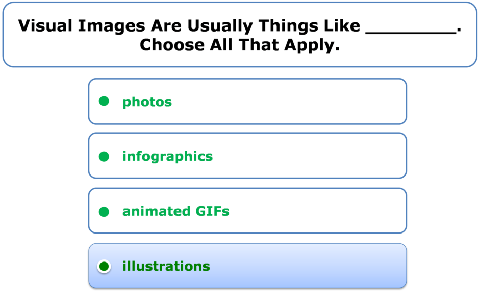 Visual Images Are Usually Things Like ________. Choose All That Apply.
