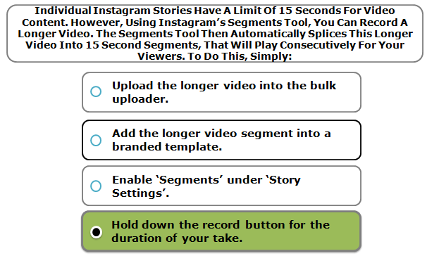 Individual Instagram Stories Have A Limit Of 15 Seconds For Video Content. However, Using Instagram's Segments Tool, You Can Record A Longer Video. The Segments Tool Then Automatically Splices This Longer Video Into 15 Second Segments, That Will Play Consecutively For Your Viewers. To Do This, Simply:
