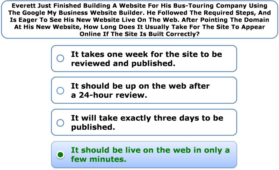 Everett Just Finished Building A Website For His Bus-Touring Company Using The Google My Business Website Builder. He Followed The Required Steps, And Is Eager To See His New Website Live On The Web. After Pointing The Domain At His New Website, How Long Does It Usually Take For The Site To Appear Online If The Site Is Built Correctly?