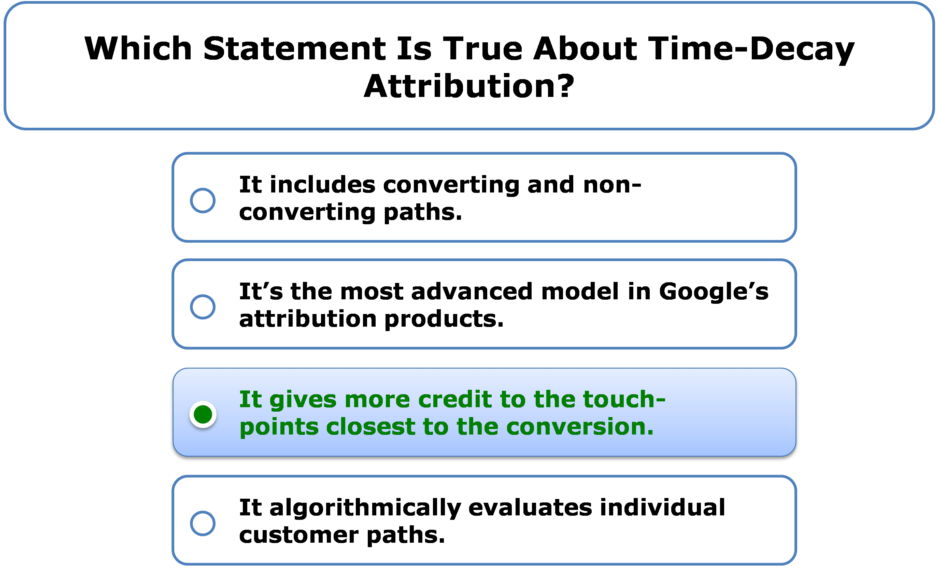 Which Statement Is True About Time-Decay Attribution?