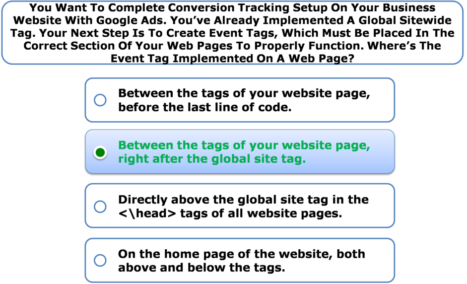 You Want To Complete Conversion Tracking Setup On Your Business Website With Google Ads. You've Already Implemented A Global Sitewide Tag. Your Next Step Is To Create Event Tags, Which Must Be Placed In The Correct Section Of Your Web Pages To Properly Function. Where's The Event Tag Implemented On A Web Page?