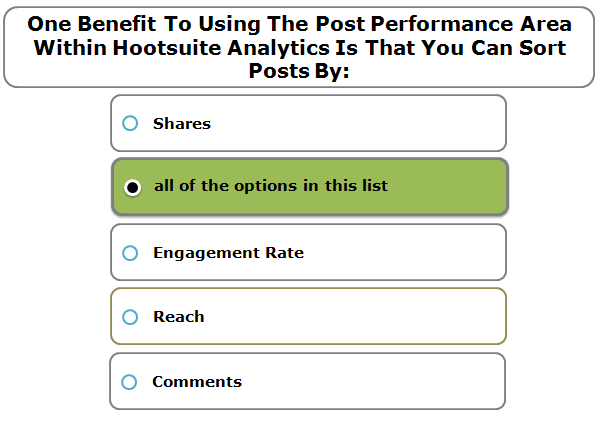 One Benefit To Using The Post Performance Area Within Hootsuite Analytics Is That You Can Sort Posts By: