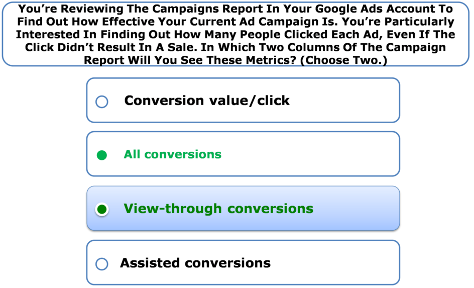 You're Reviewing The Campaigns Report In Your Google Ads Account To Find Out How Effective Your Current Ad Campaign Is. You're Particularly Interested In Finding Out How Many People Clicked Each Ad, Even If The Click Didn't Result In A Sale. In Which Two Columns Of The Campaign Report Will You See These Metrics? (Choose Two.)