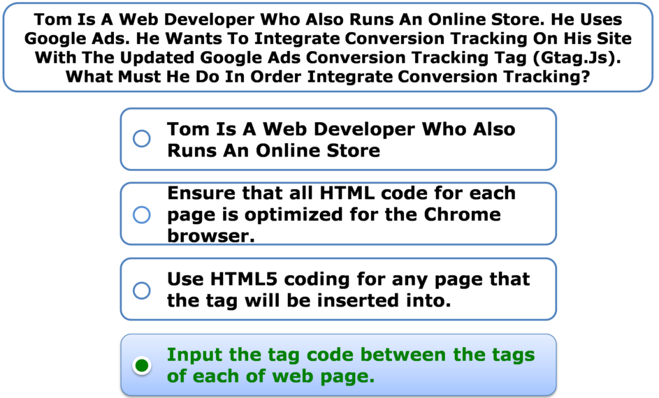Tom Is A Web Developer Who Also Runs An Online Store. He Uses Google Ads. He Wants To Integrate Conversion Tracking On His Site With The Updated Google Ads Conversion Tracking Tag (Gtag.Js). What Must He Do In Order Integrate Conversion Tracking?