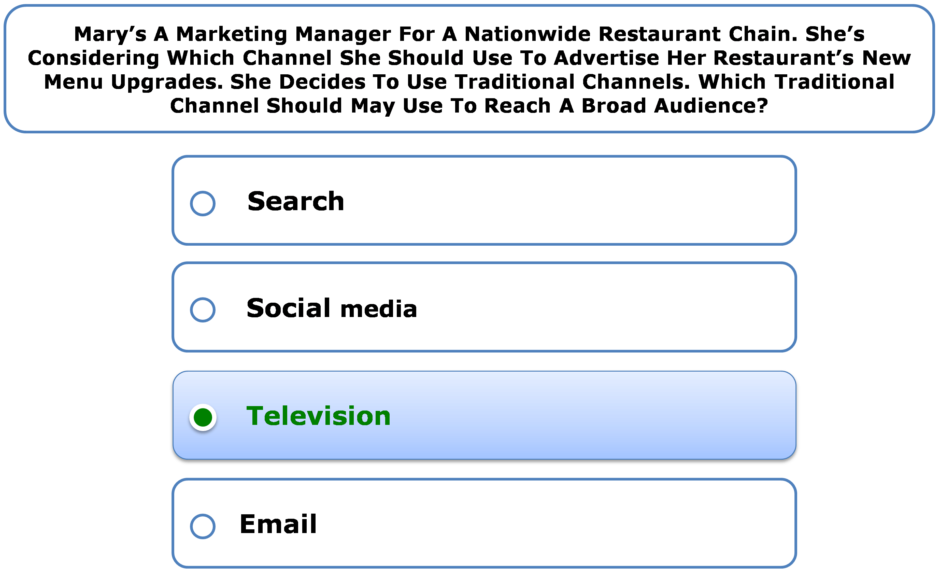 Mary's A Marketing Manager For A Nationwide Restaurant Chain. She's Considering Which Channel She Should Use To Advertise Her Restaurant's New Menu Upgrades. She Decides To Use Traditional Channels. Which Traditional Channel Should May Use To Reach A Broad Audience?