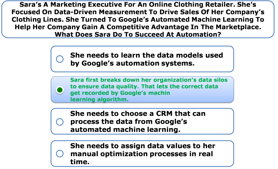 Sara's A Marketing Executive For An Online Clothing Retailer. She's Focused On Data-Driven Measurement To Drive Sales Of Her Company's Clothing Lines. She Turned To Google's Automated Machine Learning To Help Her Company Gain A Competitive Advantage In The Marketplace. What Does Sara Do To Succeed At Automation?