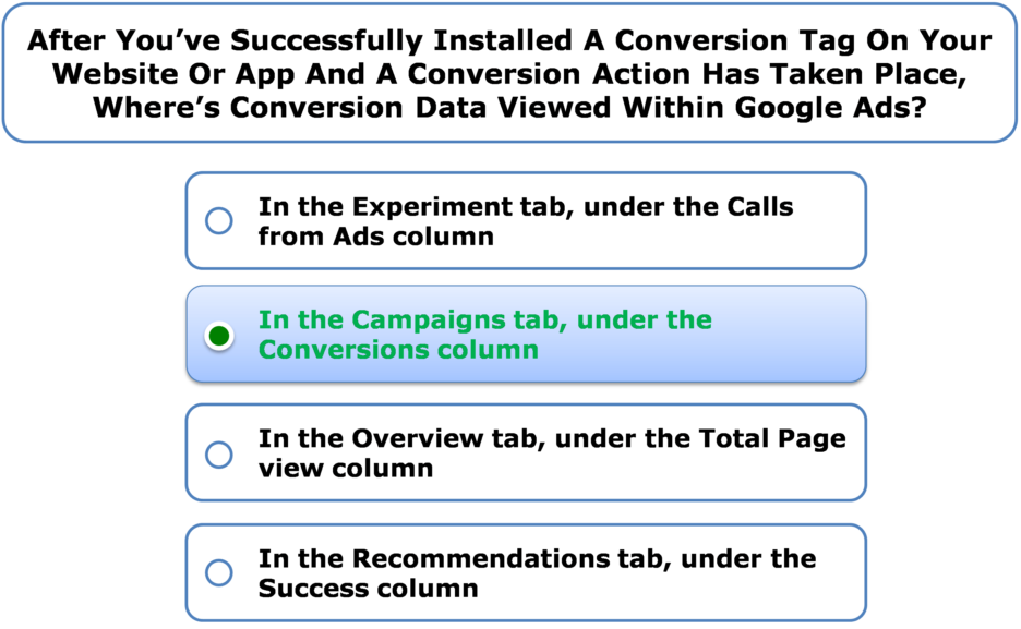 After You've Successfully Installed A Conversion Tag On Your Website Or App And A Conversion Action Has Taken Place, Where's Conversion Data Viewed Within Google Ads?