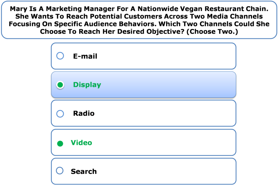 Mary Is A Marketing Manager For A Nationwide Vegan Restaurant Chain. She Wants To Reach Potential Customers Across Two Media Channels Focusing On Specific Audience Behaviors. Which Two Channels Could She Choose To Reach Her Desired Objective? (Choose Two.)