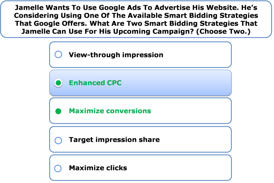 Jamelle Wants To Use Google Ads To Advertise His Website. He's Considering Using One Of The Available Smart Bidding Strategies That Google Offers. What Are Two Smart Bidding Strategies That Jamelle Can Use For His Upcoming Campaign? (Choose Two.)