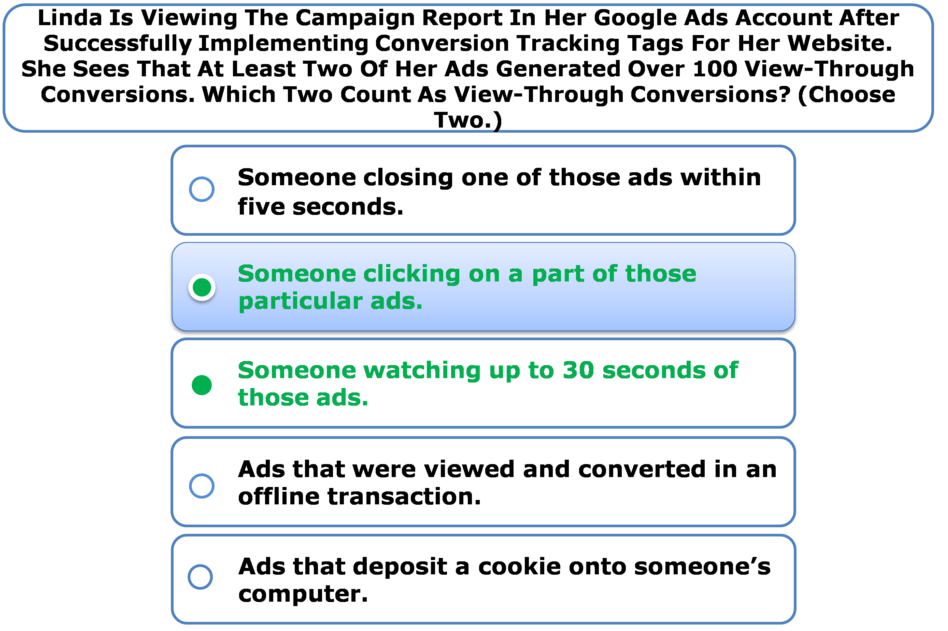 Linda Is Viewing The Campaign Report In Her Google Ads Account After Successfully Implementing Conversion Tracking Tags For Her Website. She Sees That At Least Two Of Her Ads Generated Over 100 View-Through Conversions. Which Two Count As View-Through Conversions? (Choose Two.)