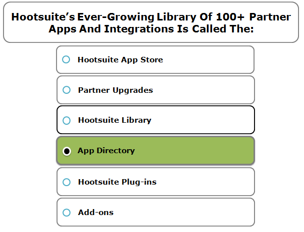 Hootsuite's Ever-Growing Library Of 100+ Partner Apps And Integrations Is Called The: