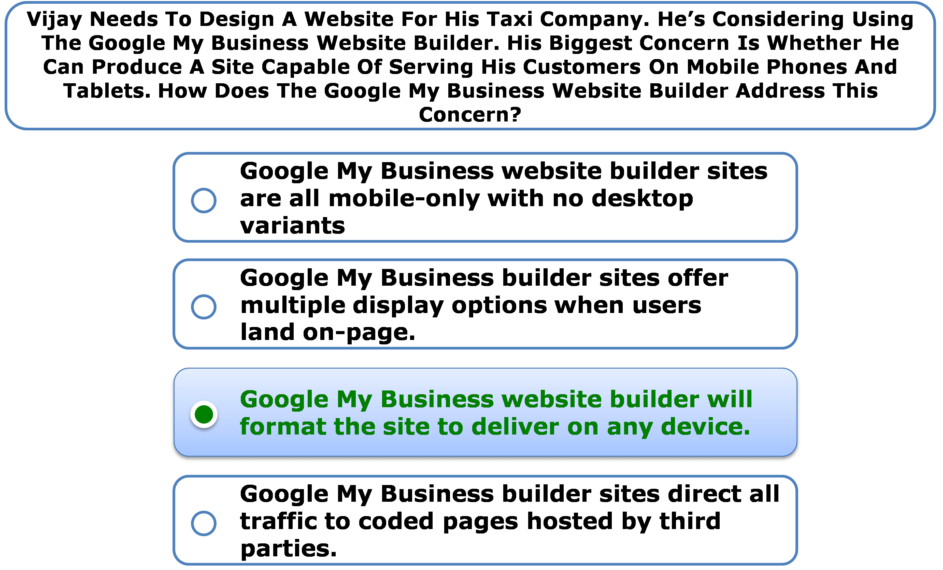 Vijay Needs To Design A Website For His Taxi Company. He's Considering Using The Google My Business Website Builder. His Biggest Concern Is Whether He Can Produce A Site Capable Of Serving His Customers On Mobile Phones And Tablets. How Does The Google My Business Website Builder Address This Concern?