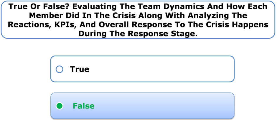 True Or False? Evaluating The Team Dynamics And How Each Member Did In The Crisis Along With Analyzing The Reactions, KPIs, And Overall Response To The Crisis Happens During The Response Stage.