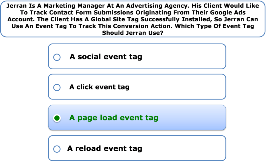 Jerran Is A Marketing Manager At An Advertising Agency. His Client Would Like To Track Contact Form Submissions Originating From Their Google Ads Account. The Client Has A Global Site Tag Successfully Installed, So Jerran Can Use An Event Tag To Track This Conversion Action. Which Type Of Event Tag Should Jerran Use?