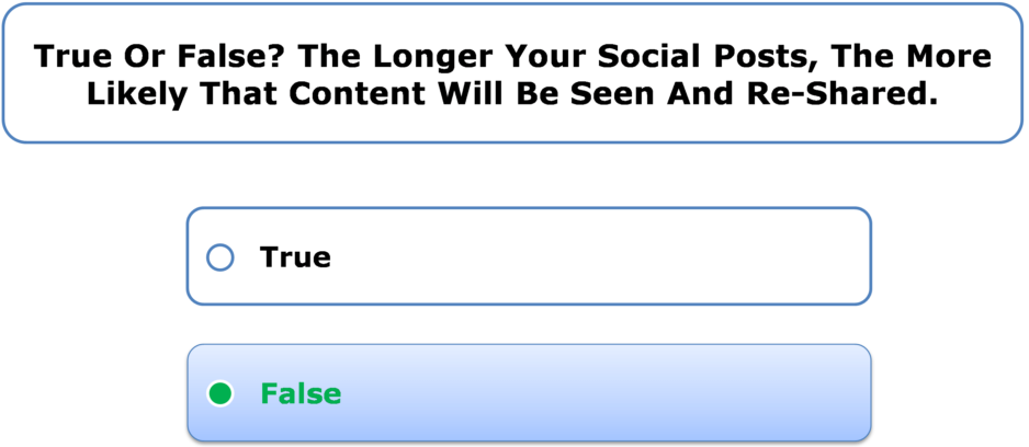 True Or False? The Longer Your Social Posts, The More Likely That Content Will Be Seen And Re-Shared.