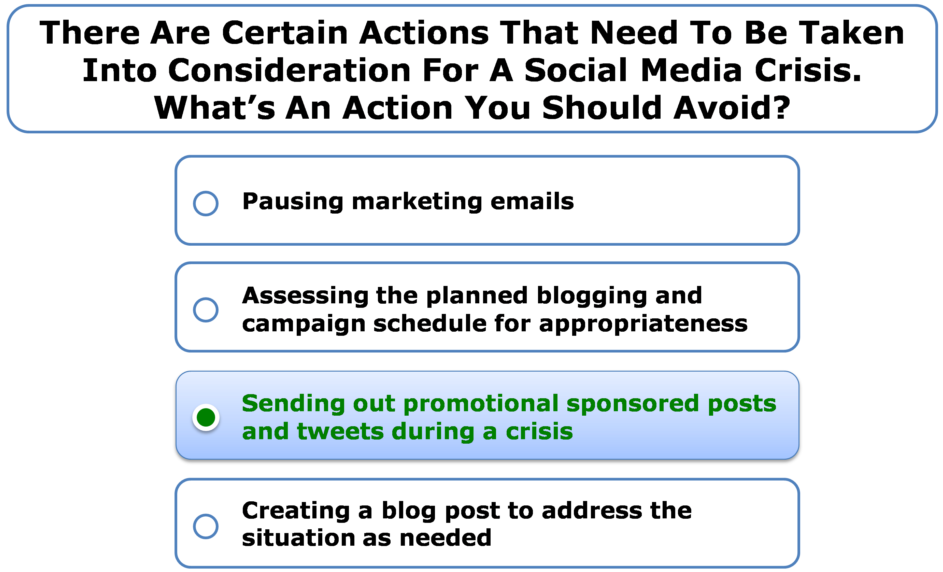 There Are Certain Actions That Need To Be Taken Into Consideration For A Social Media Crisis. What's An Action You Should Avoid?
