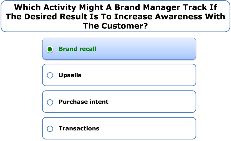 Which Activity Might A Brand Manager Track If The Desired Result Is To Increase Awareness With The Customer?
