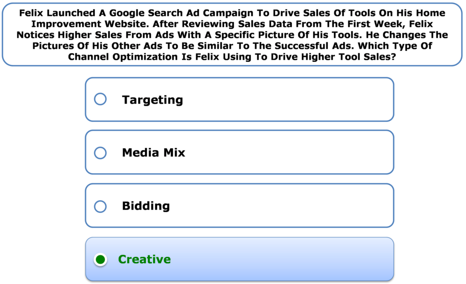 Felix Launched A Google Search Ad Campaign To Drive Sales Of Tools On His Home Improvement Website. After Reviewing Sales Data From The First Week, Felix Notices Higher Sales From Ads With A Specific Picture Of His Tools. He Changes The Pictures Of His Other Ads To Be Similar To The Successful Ads. Which Type Of Channel Optimization Is Felix Using To Drive Higher Tool Sales?