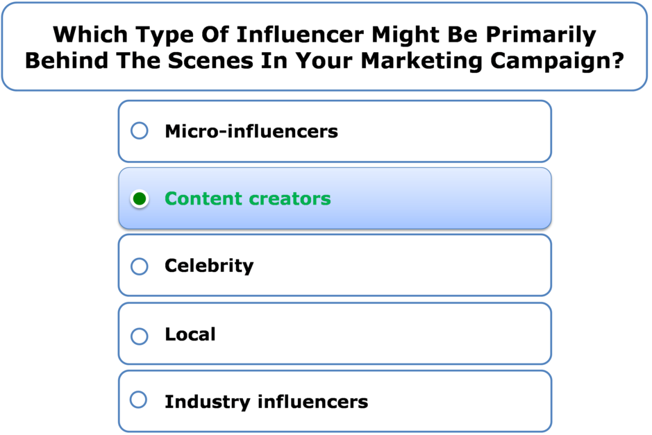 Which Type Of Influencer Might Be Primarily Behind The Scenes In Your Marketing Campaign?