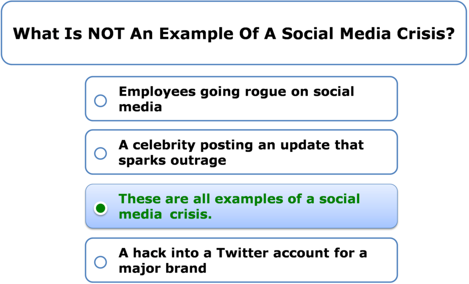 What Is NOT An Example Of A Social Media Crisis?