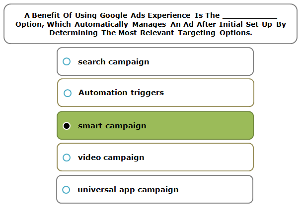 A Benefit Of Using Google Ads Experience Is The ___________ Option, Which Automatically Manages An Ad After Initial Set-Up By Determining The Most Relevant Targeting Options.
