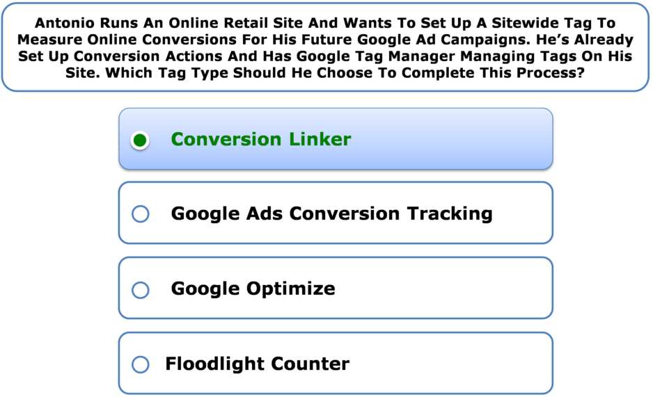 Antonio Runs An Online Retail Site And Wants To Set Up A Sitewide Tag To Measure Online Conversions For His Future Google Ad Campaigns. He's Already Set Up Conversion Actions And Has Google Tag Manager Managing Tags On His Site. Which Tag Type Should He Choose To Complete This Process?