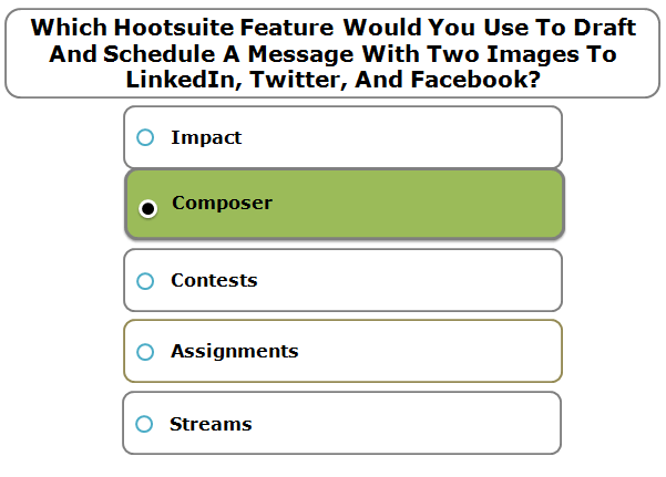 Which Hootsuite Feature Would You Use To Draft And Schedule A Message With Two Images To LinkedIn, Twitter, And Facebook?