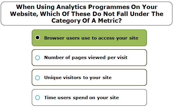 When Using Analytics Programmes On Your Website, Which Of These Do Not Fall Under The Category Of A Metric?