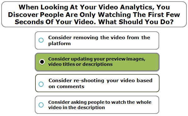 When Looking At Your Video Analytics, You Discover People Are Only Watching The First Few Seconds Of Your Video. What Should You Do?