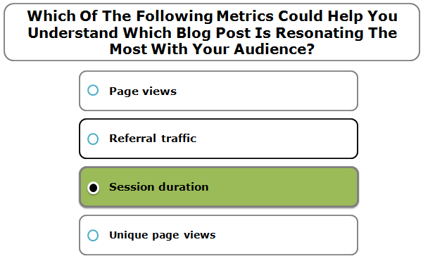 Which Of The Following Metrics Could Help You Understand Which Blog Post Is Resonating The Most With Your Audience?