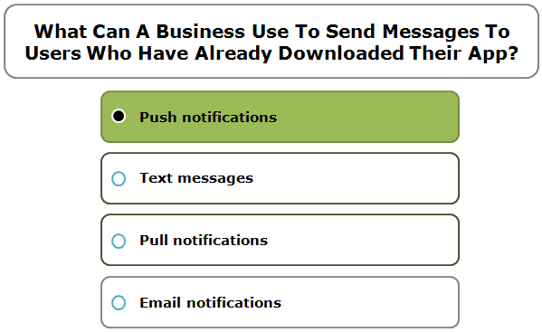 What Can A Business Use To Send Messages To Users Who Have Already Downloaded Their App?