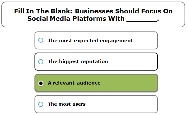 Fill In The Blank: Businesses Should Focus On Social Media Platforms With _______.