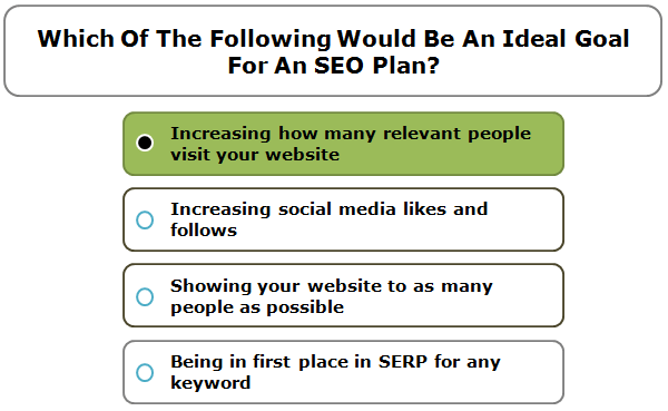 Which Of The Following Would Be An Ideal Goal For An SEO Plan?