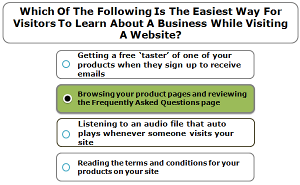 Which Of The Following Is The Easiest Way For Visitors To Learn About A Business While Visiting A Website?