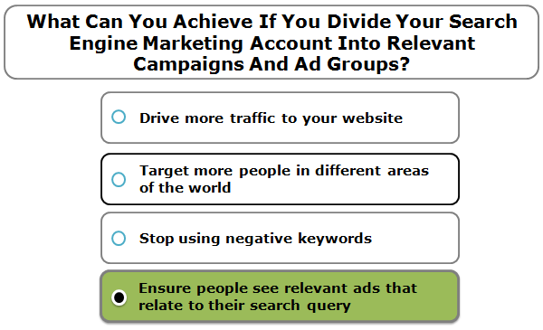 What Can You Achieve If You Divide Your Search Engine Marketing Account Into Relevant Campaigns And Ad Groups?