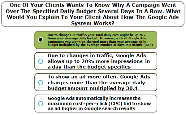 One Of Your Clients Wants To Know Why A Campaign Went Over The Specified Daily Budget Several Days In A Row. What Would You Explain To Your Client About How The Google Ads System Works?