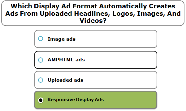 Which Display Ad Format Automatically Creates Ads From Uploaded Headlines, Logos, Images, And Videos?