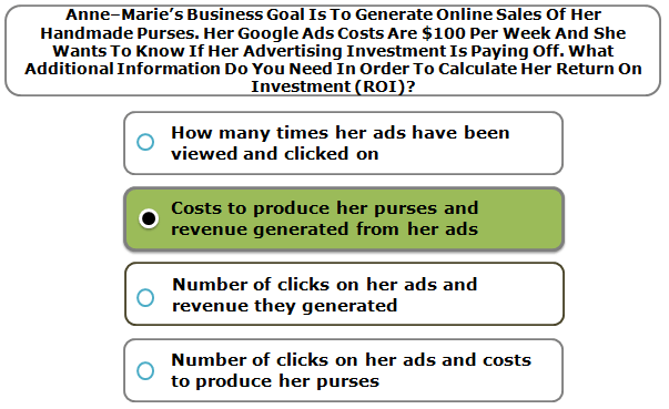 Anne–Marie's Business Goal Is To Generate Online Sales Of Her Handmade Purses. Her Google Ads Costs Are $100 Per Week And She Wants To Know If Her Advertising Investment Is Paying Off. What Additional Information Do You Need In Order To Calculate Her Return On Investment (ROI)?