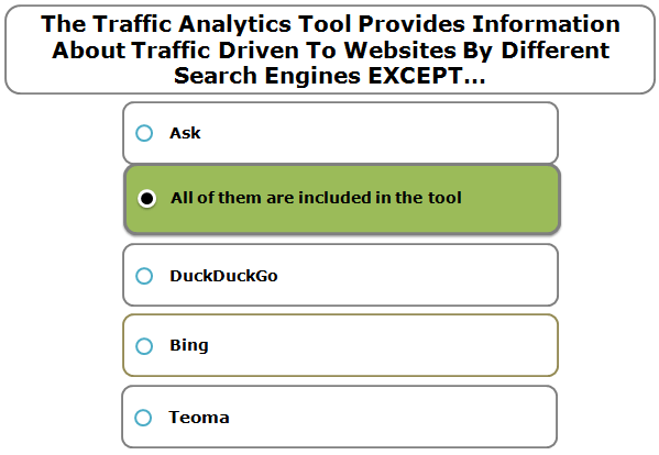 The Traffic Analytics Tool Provides Information About Traffic Driven To Websites By Different Search Engines EXCEPT…