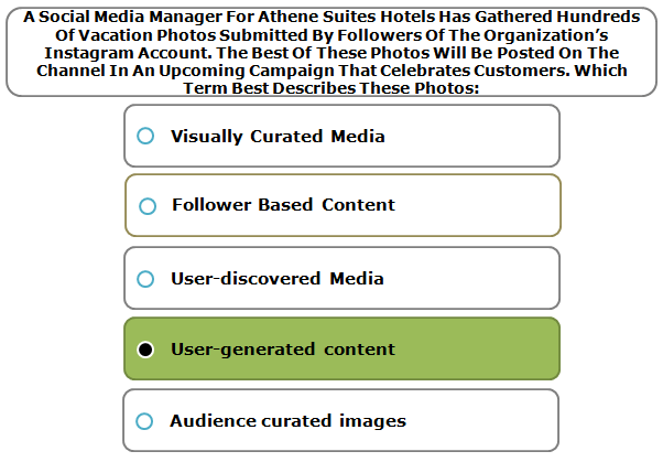 A Social Media Manager For Athene Suites Hotels Has Gathered Hundreds Of Vacation Photos Submitted By Followers Of The Organization's Instagram Account. The Best Of These Photos Will Be Posted On The Channel In An Upcoming Campaign That Celebrates Customers. Which Term Best Describes These Photos: