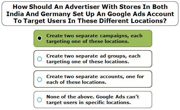 How Should An Advertiser With Stores In Both India And Germany Set Up An Google Ads Account To Target Users In These Different Locations?
