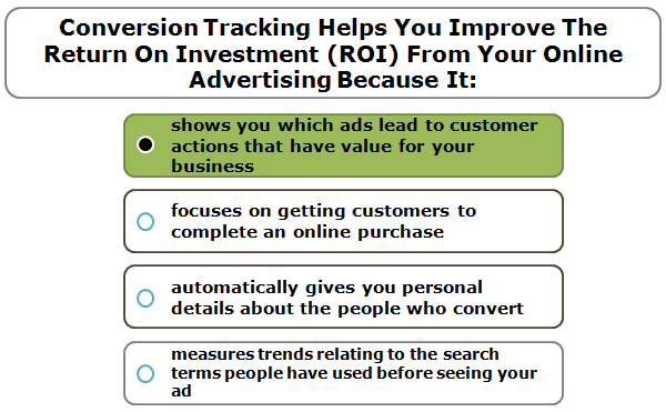 Conversion Tracking Helps You Improve The Return On Investment (ROI) From Your Online Advertising Because It: