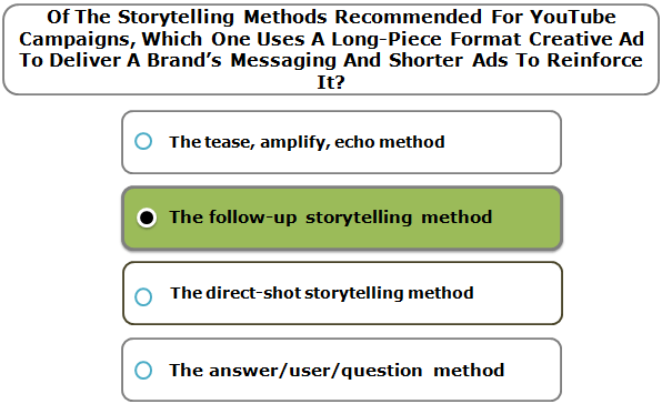 Of The Storytelling Methods Recommended For YouTube Campaigns, Which One Uses A Long-Piece Format Creative Ad To Deliver A Brand's Messaging And Shorter Ads To Reinforce It?