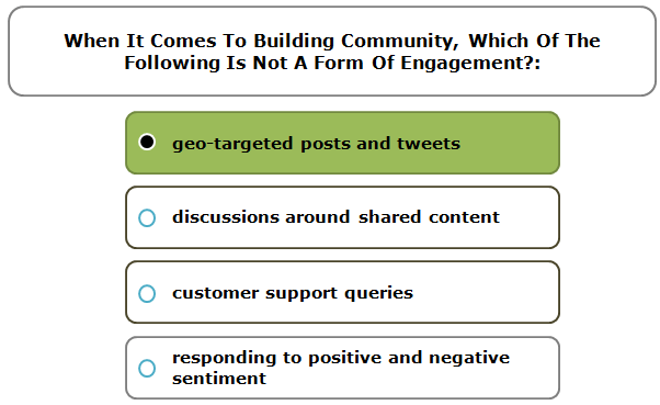 When It Comes To Building Community, Which Of The Following Is Not A Form Of Engagement?: