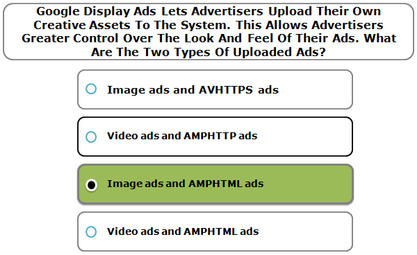 Google Display Ads Lets Advertisers Upload Their Own Creative Assets To The System. This Allows Advertisers Greater Control Over The Look And Feel Of Their Ads. What Are The Two Types Of Uploaded Ads?