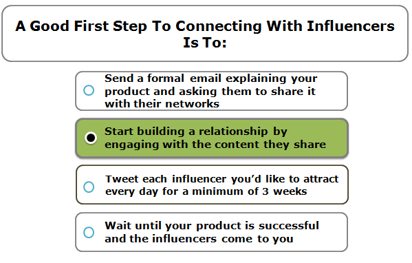 A Good First Step To Connecting With Influencers Is To: