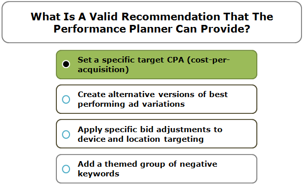 What Is A Valid Recommendation That The Performance Planner Can Provide?