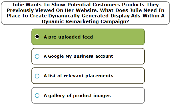 Julie Wants To Show Potential Customers Products They Previously Viewed On Her Website. What Does Julie Need In Place To Create Dynamically Generated Display Ads Within A Dynamic Remarketing Campaign?