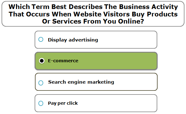 Which Term Best Describes The Business Activity That Occurs When Website Visitors Buy Products Or Services From You Online?