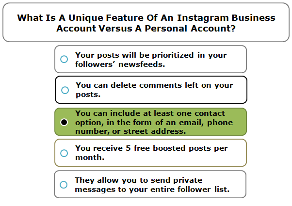 What Is A Unique Feature Of An Instagram Business Account Versus A Personal Account?